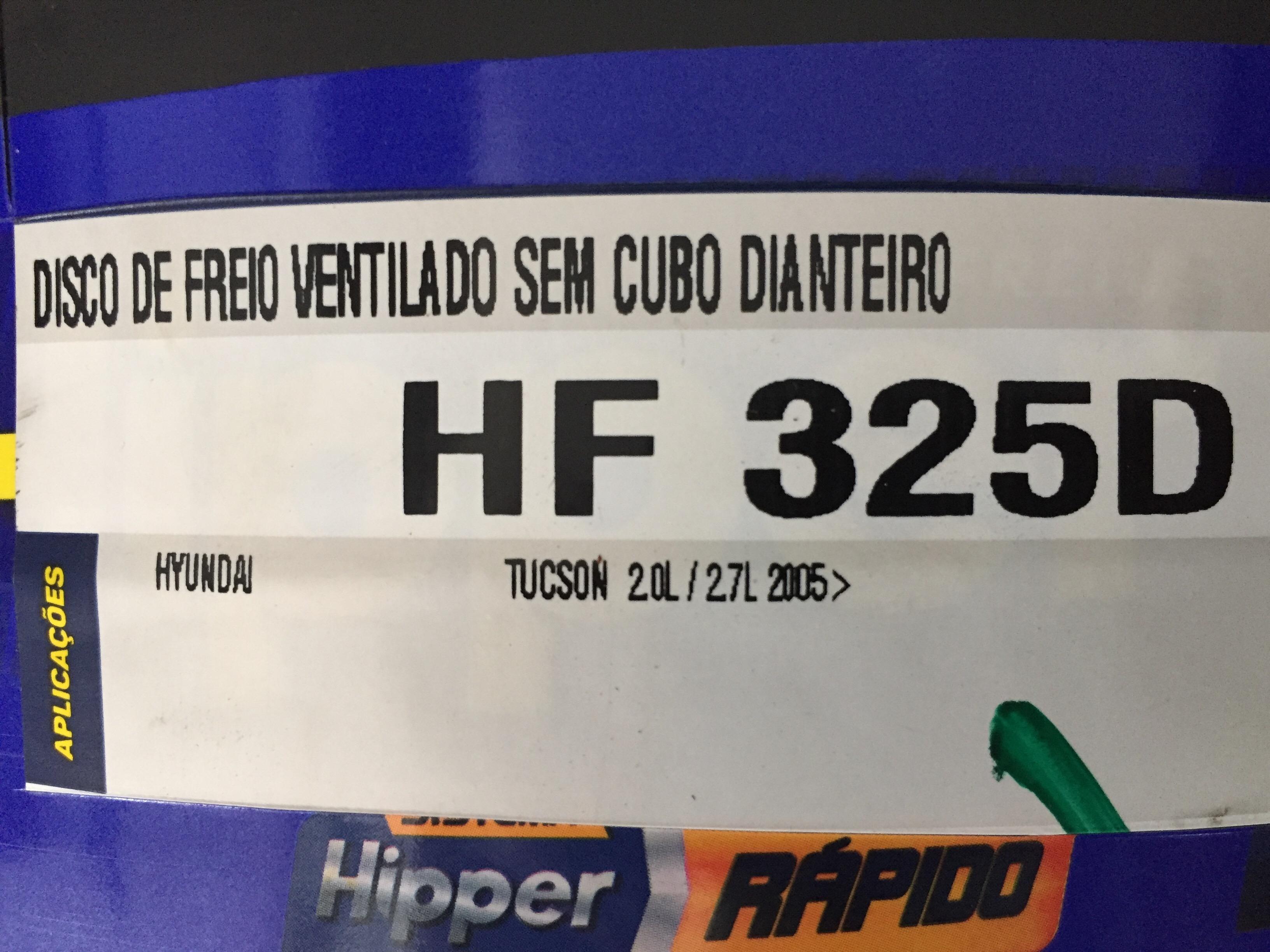 PAR DE DISCO FREIO DIANTEIRO MARCA HIPPER FREIOS PARA VEICULO HYUNDAI TUCSON 2.0 / 2.7   2005>