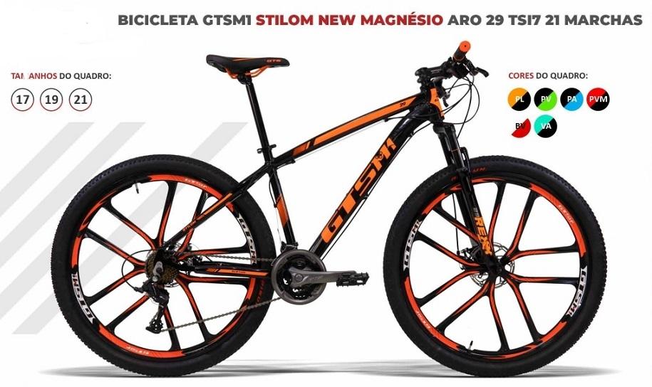 BICICLETA GTSM1 STILOM NEW MAGNÉSIO TSI 7 FREIO DISCO 21 M. QUADRO ALUMÍNIO