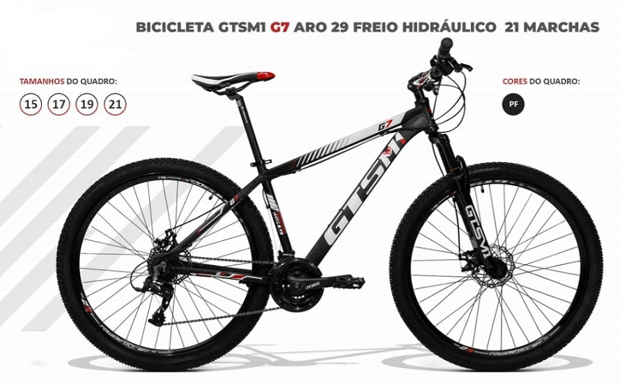 BICICLETA GTSM1 G7 TSI 7FREIO HIDRÁULICO 24 MARCHAS QUADRO DE ALUMÍNIO